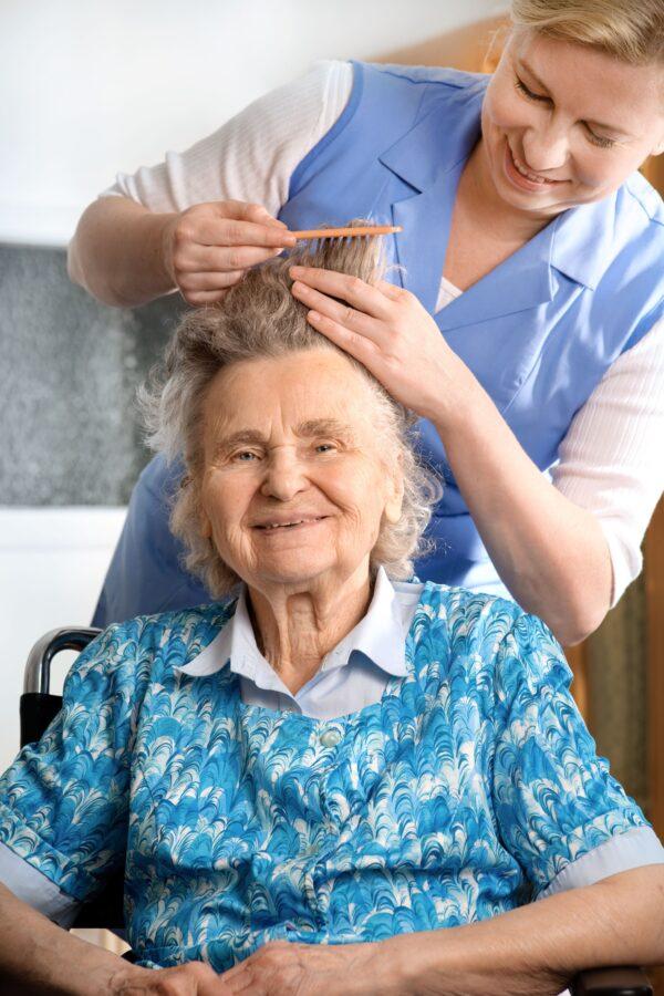 Woman getting hair done • Elder Abuse • 3000F Elder Abuse • Affordable Mandatory Classes • Mandatory Classes • Court Ordered Classes • CE Classes • www.affordablemandatoryclasses.com